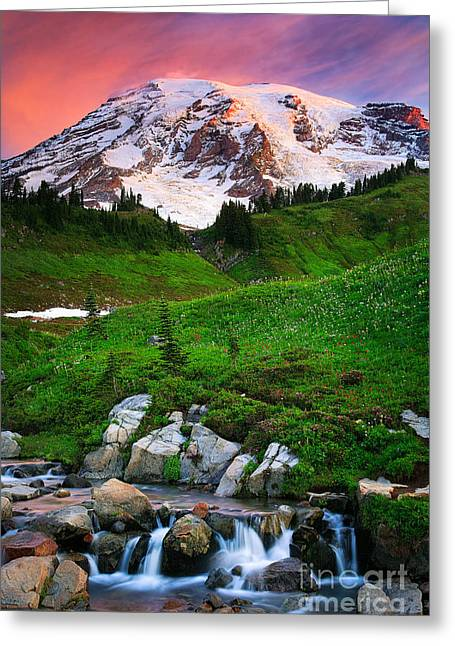 Pacific Northwest Greeting Cards - Blazing Dawn Greeting Card by Inge Johnsson