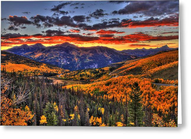 Blazing Fall Greeting Card by Scott Mahon