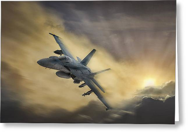 Jet Airplane Greeting Cards - Blazing Hornet Greeting Card by Peter Chilelli