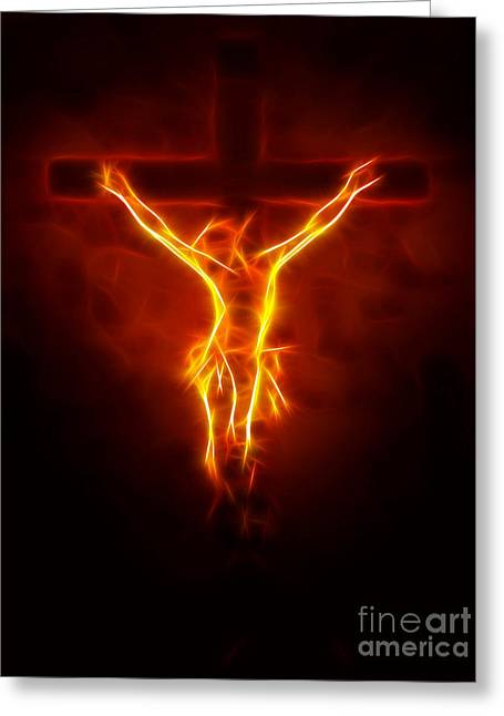 Religious Mixed Media Greeting Cards - Blazing Jesus Crucifixion Greeting Card by Pamela Johnson