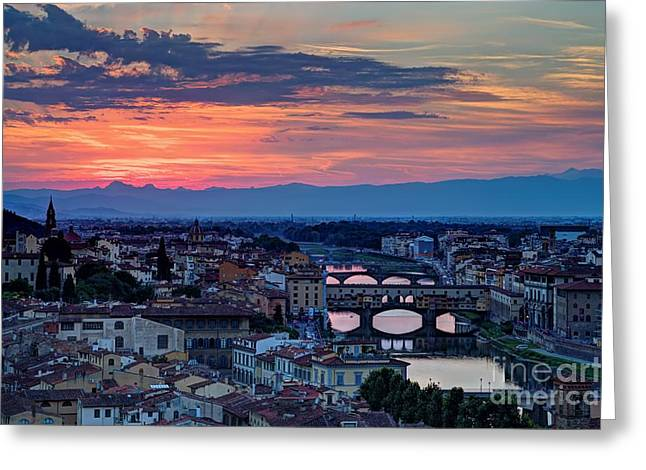Michelangelo Greeting Cards - Blazing sky and the Ponte Vecchio Greeting Card by James Anderson