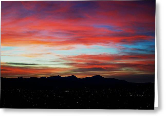 Sunset Posters Greeting Cards - Blazing Sky Greeting Card by Kevin Bone
