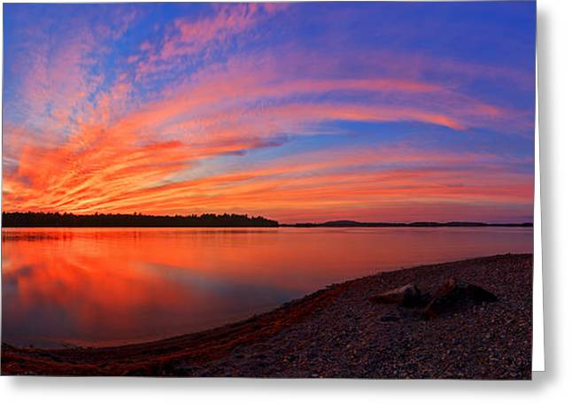 Maine Landscape Greeting Cards - Blazing Sunset at Pocomoonshine Panorama Greeting Card by Bill Caldwell -        ABeautifulSky Photography
