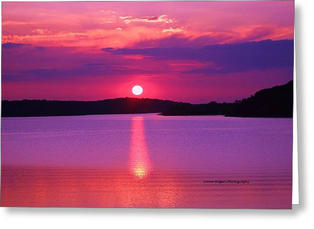 Peaceful Scenery Pyrography Greeting Cards - Blazing Sunset Greeting Card by Lorna Rogers Photography