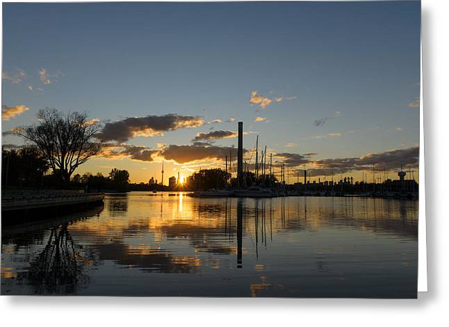 Yellow Sailboats Greeting Cards - Blazing Sunset - the Beaches Marina and the Skyline Greeting Card by Georgia Mizuleva