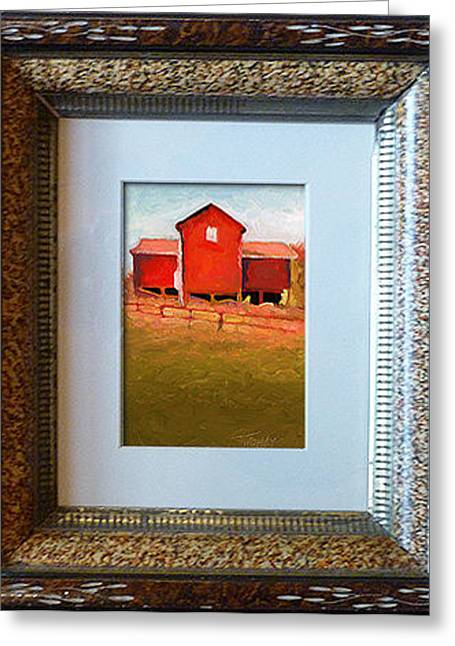 Outbuildings Greeting Cards - Bleak House Barn No.3 Oil on Linen Greeting Card by Catherine Twomey