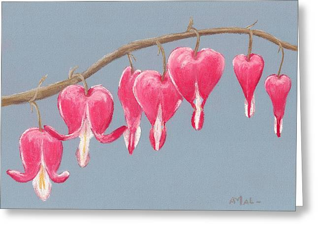 Valentines Day Pastels Greeting Cards - Bleeding Hearts Greeting Card by Anastasiya Malakhova