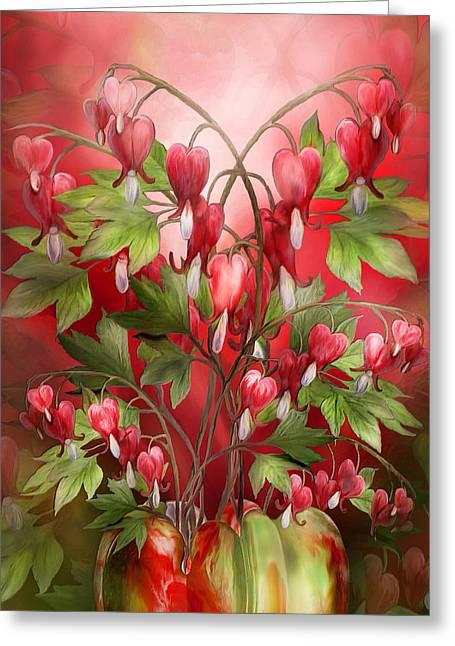 Bleeding Hearts Greeting Cards - Bleeding Hearts Bouquet Greeting Card by Carol Cavalaris