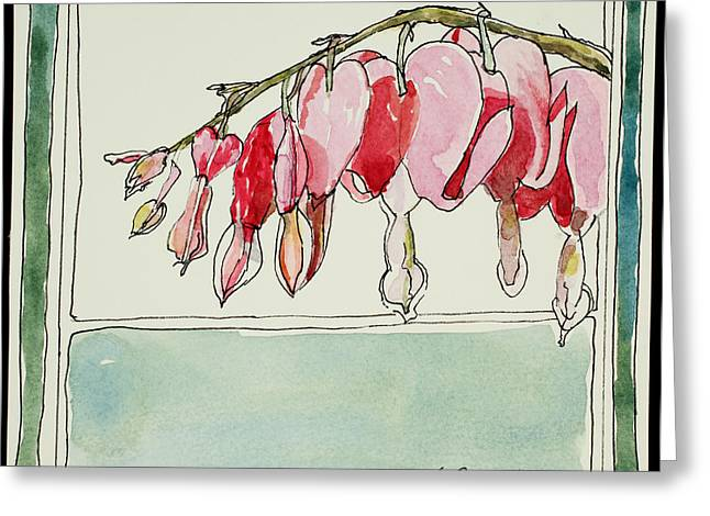Bleeding Hearts II Greeting Card by Mary Benke