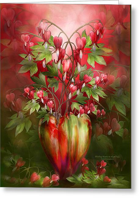 Bleeding Hearts Greeting Cards - Bleeding Hearts In Heart Vase Greeting Card by Carol Cavalaris