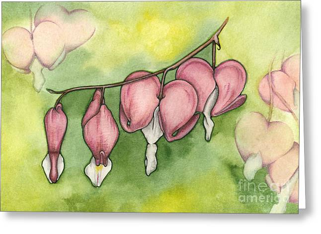 Nora Blansett Mixed Media Greeting Cards - Bleeding Hearts Greeting Card by Nora Blansett