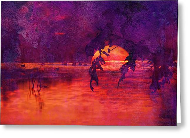 Waterscape Digital Art Greeting Cards - Bleeding Sunrise Abstract Greeting Card by J Larry Walker