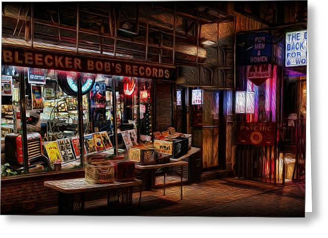 Music Store Greeting Cards - Bleeker Bobs Records Greeting Card by Lee Dos Santos