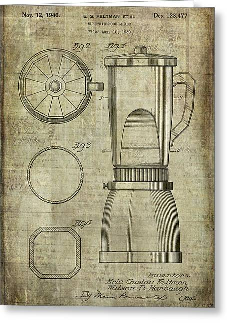 Processor Digital Greeting Cards - Blender Patent Greeting Card by Caffrey Fielding