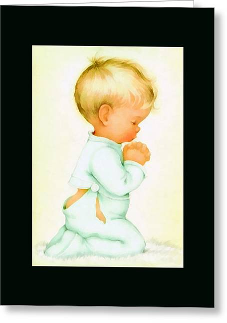 Pajamas Greeting Cards - Bless All Of Us Duvet Greeting Card by Charlotte Byj