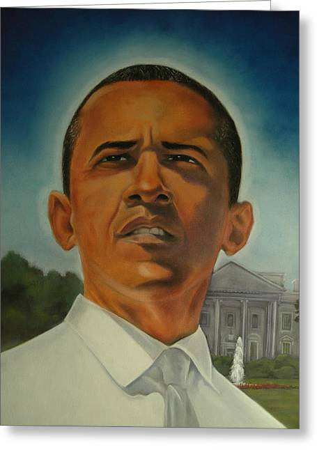 Barack Obama Pastels Greeting Cards - Bless Mr.Obama Greeting Card by Joyce Hayes