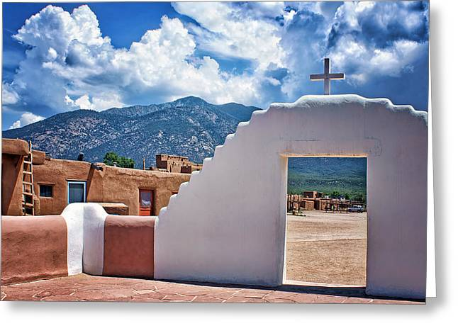 Taos Greeting Cards - Bless Our Homes - Taos Pueblo Greeting Card by Nikolyn McDonald