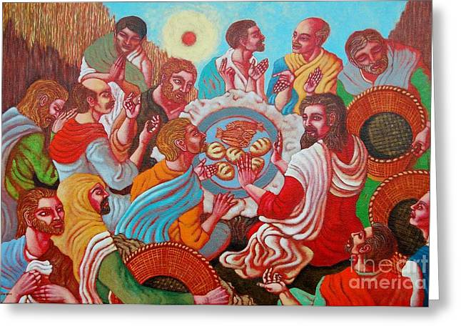 Last Supper Greeting Cards - Bless this Food Greeting Card by Paul Hilario
