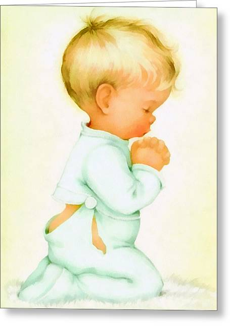 Pajamas Greeting Cards - Bless Us All Greeting Card by Charlotte Byj