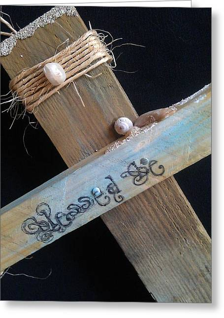 Jesus Sculptures Greeting Cards - blessed be Cross Greeting Card by Catt Kyriacou