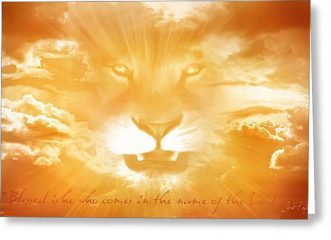 Illustrated Scripture Greeting Cards - Blessed is HE Greeting Card by Jennifer Page