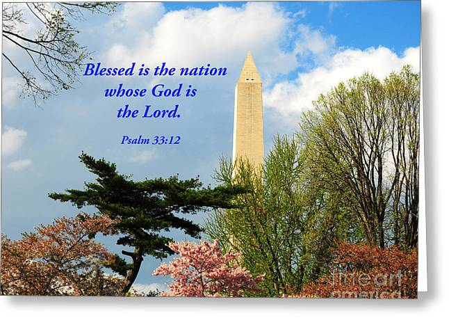Psalm 33:12 Greeting Cards - Blessed Is The Nation Greeting Card by Olivia Hardwicke