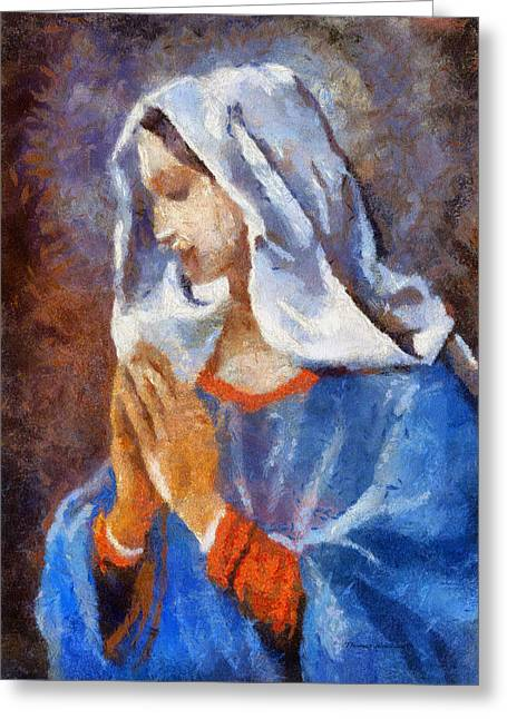 Praying Hands Greeting Cards - Blessed Mary Greeting Card by Thomas Woolworth