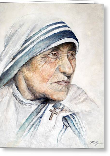 Portrait Of Mother Teresa Greeting Cards - Blessed Greeting Card by Mary Zins