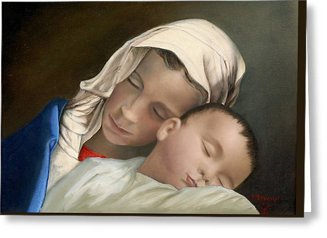 Blessed Mother Mary And Jesus Greeting Card by Cecilia Brendel