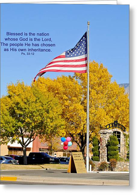 Psalm 33:12 Greeting Cards - Blessed Nation Greeting Card by Don Durante Jr