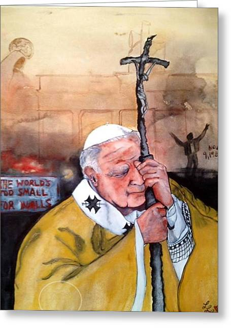 Blessed Pope John Paul II And Collapse Of Berlin Wall Greeting Card by Laura LaHaye