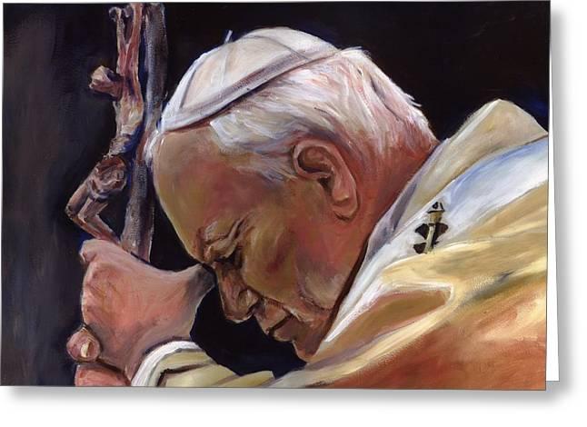 Sheila Diemert Paintings Greeting Cards - Blessed Pope John Paul II  Image 2 Greeting Card by Sheila Diemert