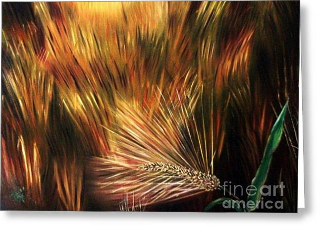 Gloaming Paintings Greeting Cards - Blessed Seeds Collection - Fields of Gold Greeting Card by E Luiza Picciano