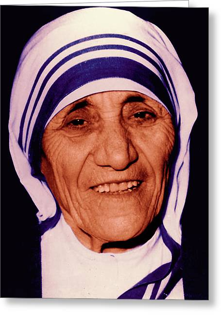Portrait Of Mother Teresa Greeting Cards - Blessed Teresa of Calcutta Greeting Card by Li   van Saathoff