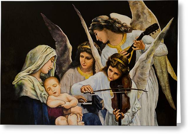 Christ Child Greeting Cards - Blessed Virgin Mary with angels Greeting Card by Claud Religious Art