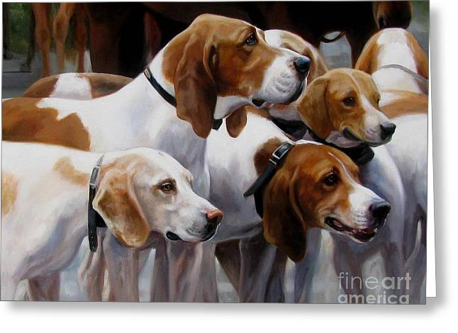 Foxhound Greeting Cards - Blessing of the Hounds Greeting Card by Janet  Crawford