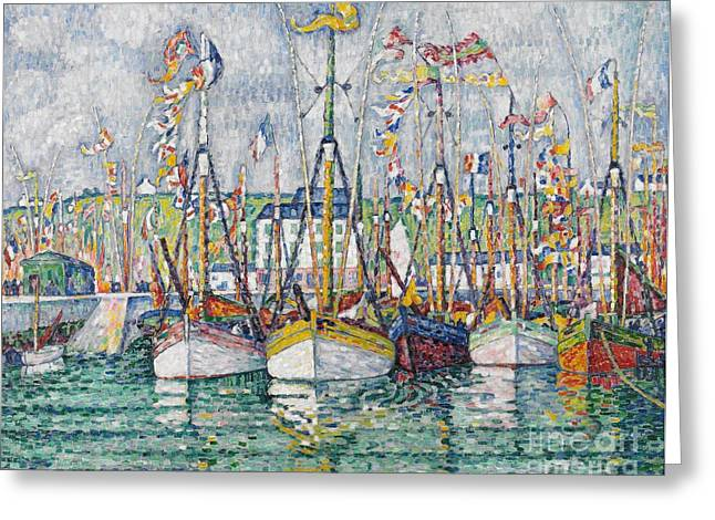 Pointillist Paintings Greeting Cards - Blessing of the Tuna Fleet at Groix Greeting Card by Paul Signac