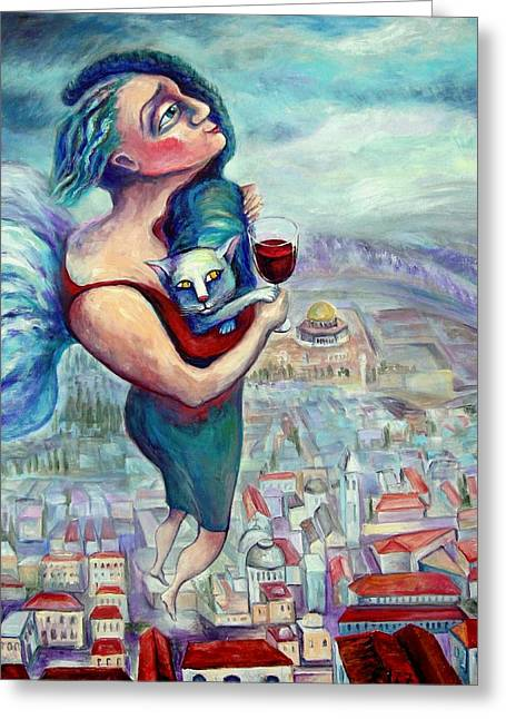 Khiddush Paintings Greeting Cards - Blessing Over The Wine Greeting Card by Elisheva Nesis