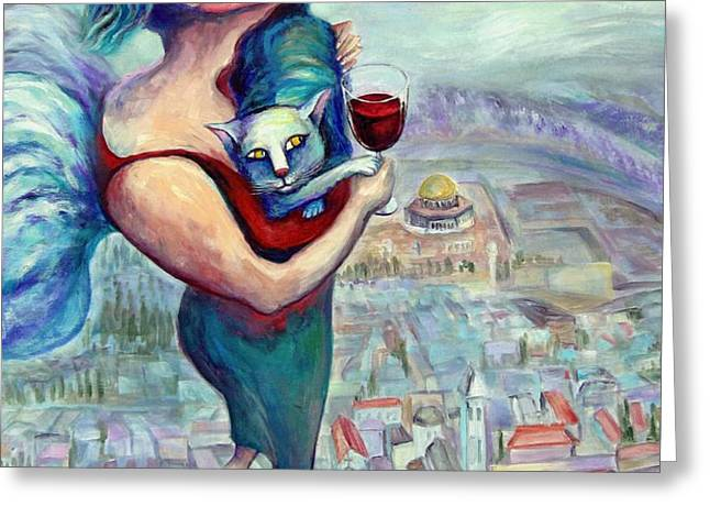 BLESSING OVER THE WINE Greeting Card by Elisheva Nesis