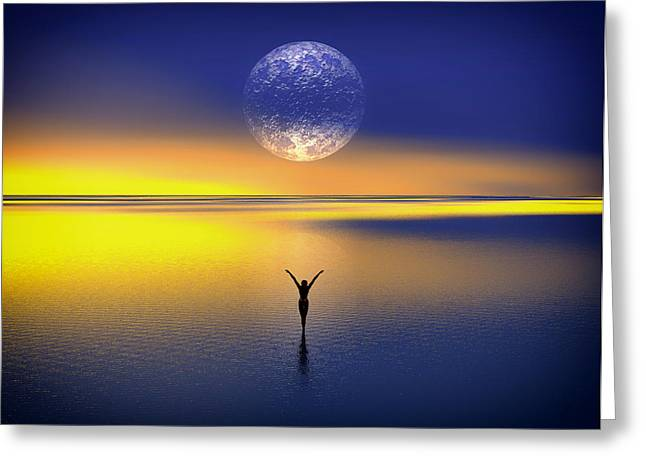 Ocean. Reflection Digital Art Greeting Cards - Blessing to the Moon Greeting Card by Mountain Dreams