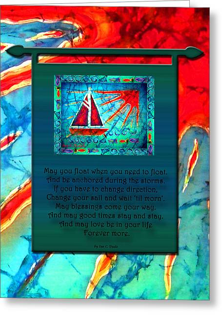 Lake Tapestries - Textiles Greeting Cards - Blessings 1 Greeting Card by Sue Duda
