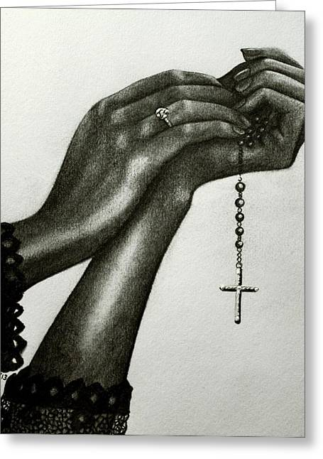 Crucifix Art Drawings Greeting Cards - Blessings Greeting Card by Bonnie Leeman