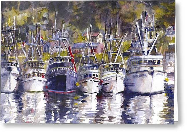 Recently Sold -  - Ocean. Reflection Greeting Cards - Blessings Of The Fleet Greeting Card by Lola Waller