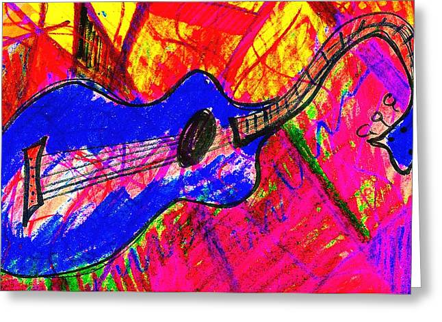 Earthtone Colored Art Greeting Cards - Bleu Guitar Greeting Card by Bill Solley