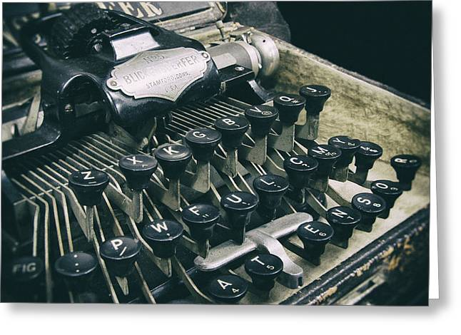 Typewriter Keys Photographs Greeting Cards - Blickensderfer Typewriter Greeting Card by Daniel Hagerman
