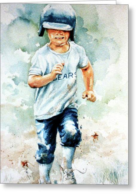 Baseball Print Paintings Greeting Cards - Blind Dash For First Greeting Card by Hanne Lore Koehler