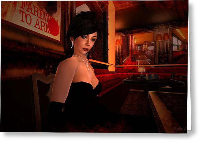 Evening Dress Digital Art Greeting Cards - Blind Date in a Paris Restaurant 1920s Greeting Card by Kylie Sabra