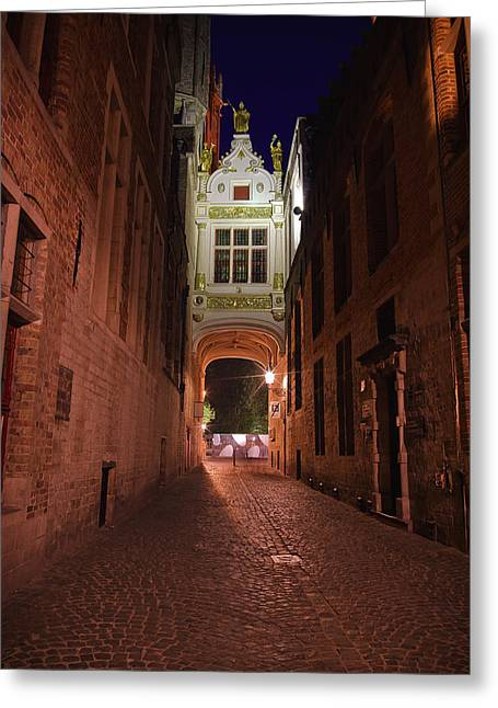 Bruges Greeting Cards - Blind Donkey Alley Greeting Card by Adam Romanowicz