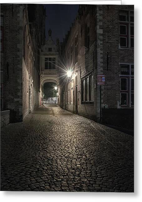 Night Lamp Greeting Cards - Blind Donkey Alley Dawn Greeting Card by Joan Carroll