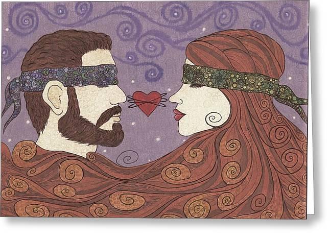 Blind Faith Greeting Cards - Blind faith in love 7 Greeting Card by Holly Walker